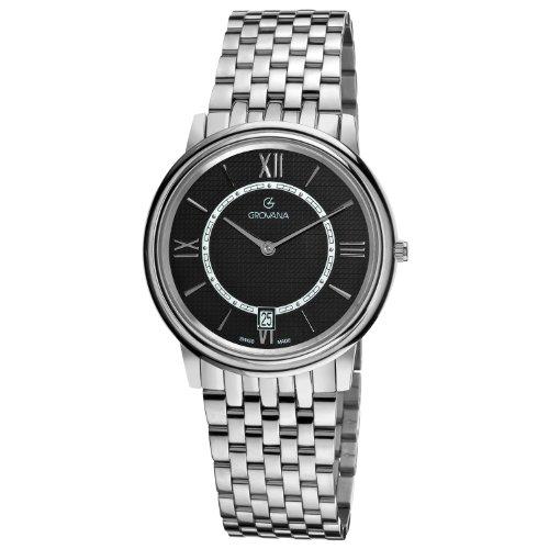 Grovana 1708-1137 - Reloj para hombres, correa de acero inoxidable color plateado