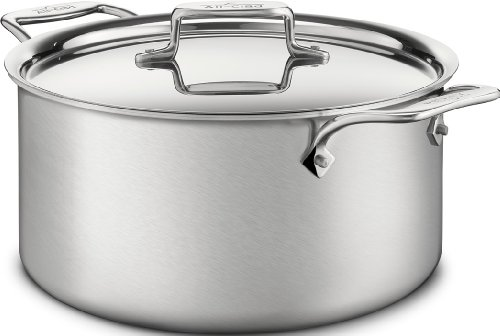 All-Clad BD55508 D5 Brushed 18/10 Stainless Steel  5-Ply Bonded Dishwasher Safe Stockpot Cookware, 8-Quart, Silver