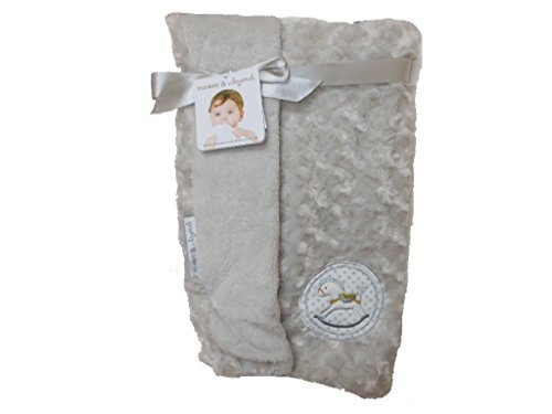 Blankets and Beyond Soft Reversible Blanket with Rocking Horse (Grey)