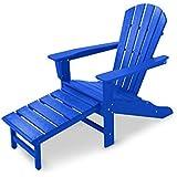 CASA BRUNO South Beach Ultimate Adirondack Chair mit ausziehbarem Fussteil, aus recyceltem Polywood® HDPE Kunststoff, ozeanblau - kompromisslos wetterfest