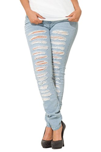 Poetic Justice Curvy Women's Blue Stretch Denim Extreme Destroyed Skinny Jeans (Full Blown Extreme compare prices)