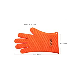 Idson Silicone Oven Mitts for Barbecue & Kitchen-heat Resistant Grilling Cooking Gloves with BBQ Grill Brush Set,double Non-slip Professional 5 Fingers Glove for Baking,washing,cleaning-orange