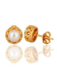 18K Yellow Gold Plated Natural White Pearl Womens Stud Earrings