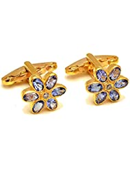 Cufflink-Tresure 92.5 Sterling Silver Natural Single Diamond With Tanzanite Gemstones Men Cufflinks