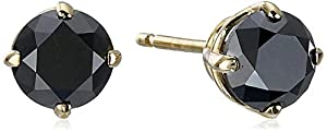 1 cttw Black Diamond Stud Earrings 14k Yellow Gold