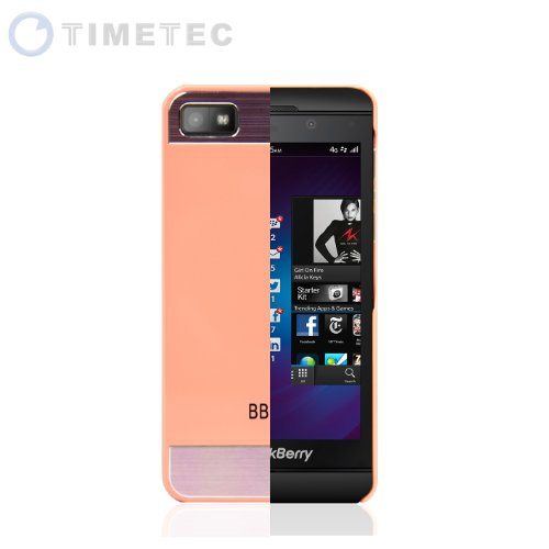 Timetec Blackberry Z10 Bb10 Faux Brushed Aluminum Metal Snap-On Metal Back Cosmo Brushed Metal Top & Bottom Glossy Plastic Shell Case Cover (Peach)