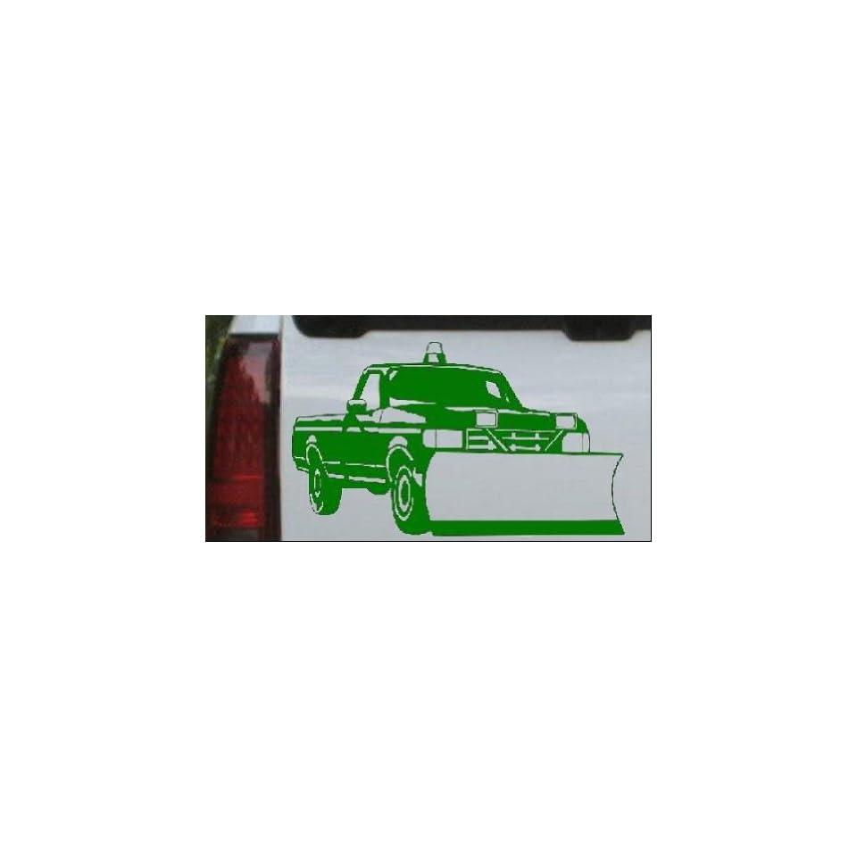 Snow Plow Truck Business Car Window Wall Laptop Decal Sticker    Dark Green 10in X 5.9in