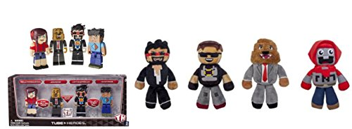 """Tube Heroes Deluxe Gaming 4pc 2.75"""" Mini Figure Pack and 4 x 7"""" Plush Bundle"""