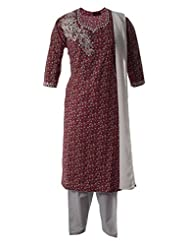 Mini Floral Printed FIne Cotton Kameez With Resham And Mirror Worked Salwar Suit