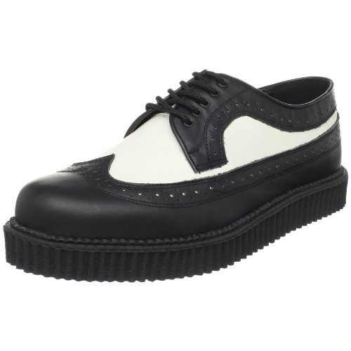Demonia - CREEPER-608, Stringate uomo, color Nero (Blk-Wht Leather), talla 37-39