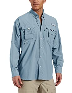 Columbia Men's Bahama II Long Sleeve Shirt, Storm, Large