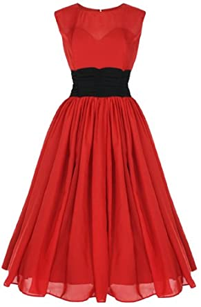 Lindy Bop 'Serena' Elegant Vintage 1950's Chiffon Prom Dress, Ball Gown (S, Red)