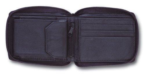 Mens Soft Black Leather Zip Around Wallet Notecase