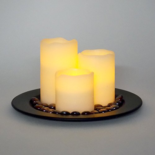 LED Candle Set - Flameless Battery Operated Lights with Decorative Tray - 3x3, 3x4 and 3x5
