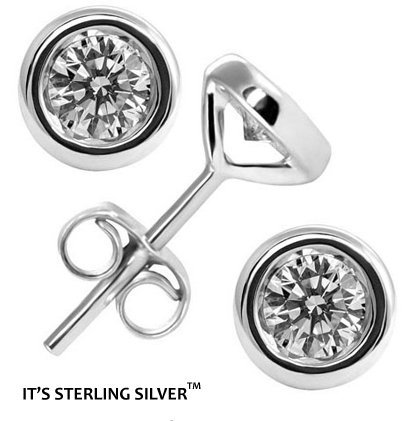 Authentic 925 Sterling Silver 4.00 Carat Bezel Set Round Cz Diamond Cubic Zirconia Stud Earrings. 1.00 Carat Each Stone