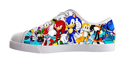 LeonBin Custom Sonic The Hedgehog Kids Canvas Shoes Low-top Fashion Sneakers For Boys (Sonic The Hedgehog Sneakers)