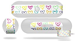 Kearas Hearts White Decal Style Skin - fits Beats Pill Plus (BEATS PILL NOT INCLUDED)