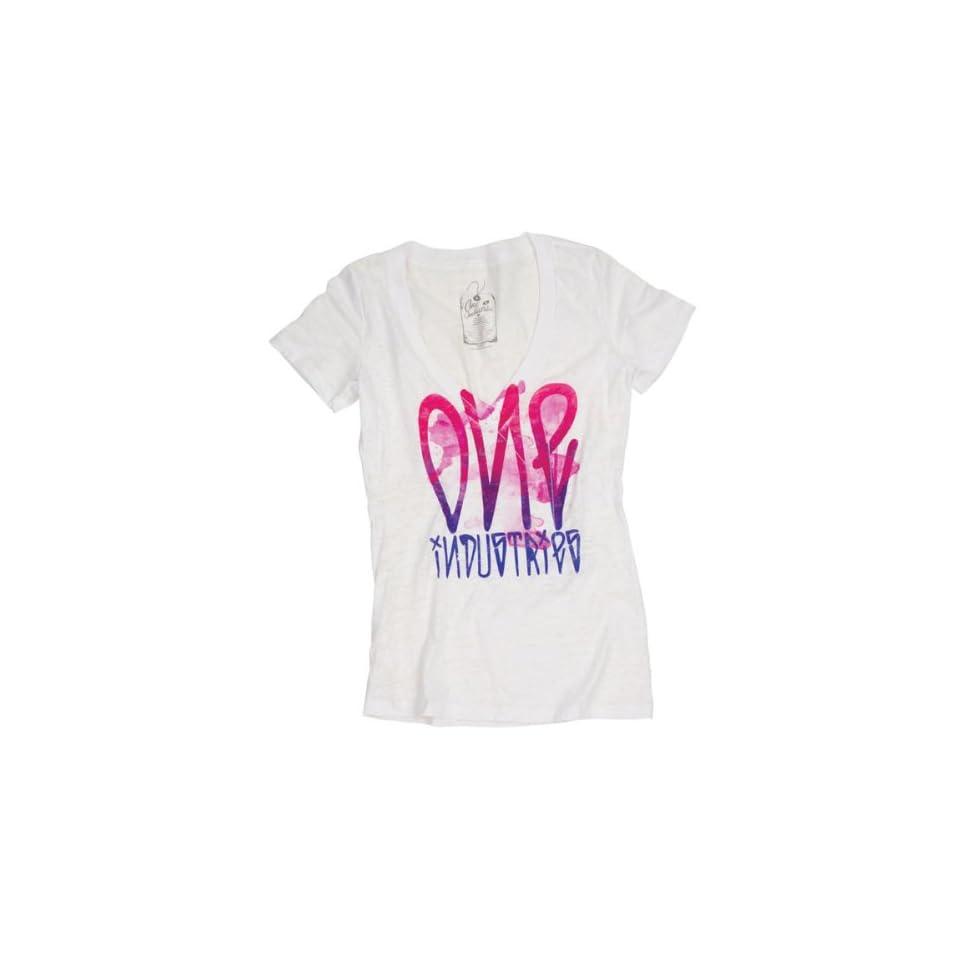 One Industries Slick Vneck Womens Short Sleeve Fashion Shirt   White / Large