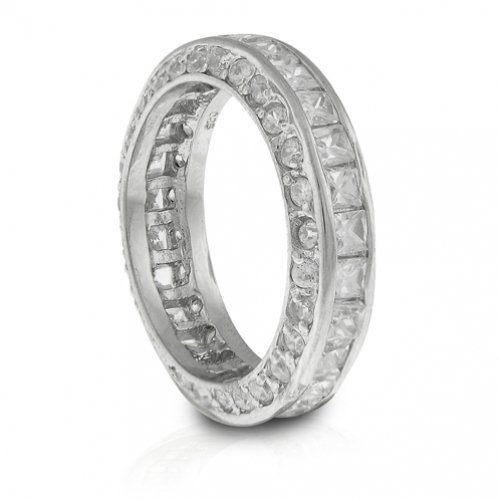 Bling Jewelry Sterling Silver Princess Cut CZ Stackable Eternity Ring - Size 9