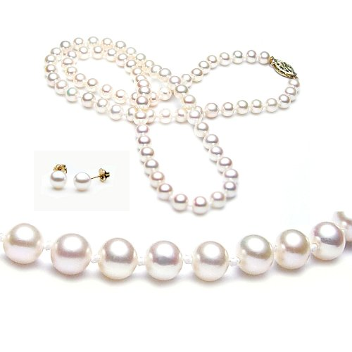 Freshwater Cultured 18 Inches 1-Strand 5.5-6mm White Pearl Necklace & 5.5-6mm White Pearl Earrings with 14/20 yellow-gold-filled Mount
