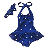 Jastore® Baby Girls Swimwear One Piece Swimsuits Beach Wear with Headband (2-3 Years, Blue)