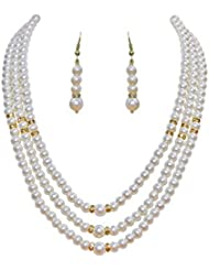 Classique Designer Silver Alloy With Gold Plated Button Pearl Necklace Set For Women(CP353)