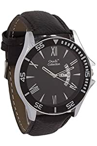 Addic Oudi Silver Case Black Dial And Leather Strap With Date Panel Watch for Men