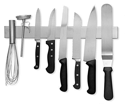 Modern Innovations 16 Inch Stainless Steel Magnetic Knife Bar with Multipurpose Use as Knife Holder, Knife Rack, Knife Strip, Kitchen Utensil Holder, Tool Holder, Art Supply Organizer & Home Organizer
