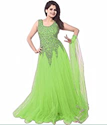 Pashimo Net Fabric Gown For Women ( Gowns with Dupatta _ Gown for Girls _ Gown for Women Party Wear ) (Light Green)