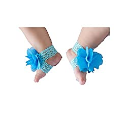 Geoot Pure Handmade Knit Flowers Barefoot Sandals Infant Toddler Baby Feet Decoration(blue)