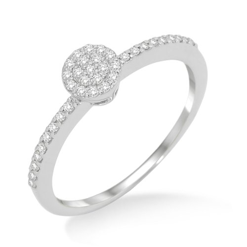 Engagement Ring, 9ct White Gold, Diamond Solitaire Engagement Ring, 0.19 carat Diamond Weight, Size O, by Miore, MP9023RP