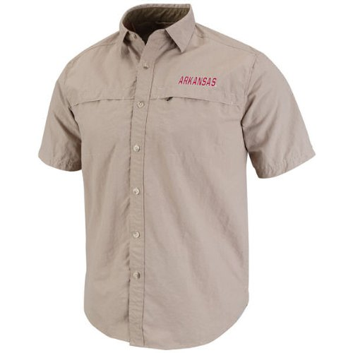 Arkansas Razorbacks Rapid Khaki Short Sleeve Button Shirt:L at Amazon.com