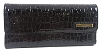 Kenneth Cole Reaction Black Patent Croc Tri Me A River Wallet