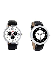 Gledati Men's White Dial And Foster's Women's Black Dial Analog Watch Combo_ADCOMB0001869