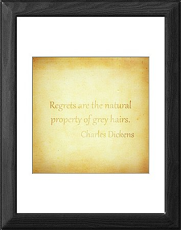 Framed Print of Charles Dickens Quote Poster - Regrets from HumanLine