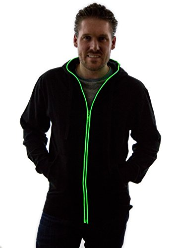 Neon Nightlife Light Up Hoodie, Large, Green