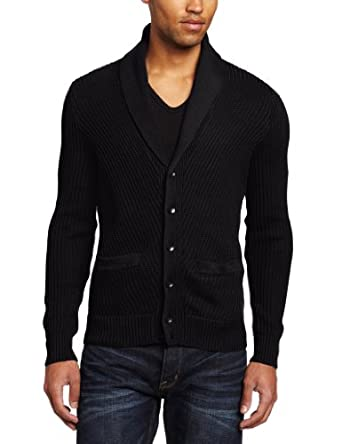 Kenneth Cole New York Men's Shawl Cardigan Sweater, Black, Medium