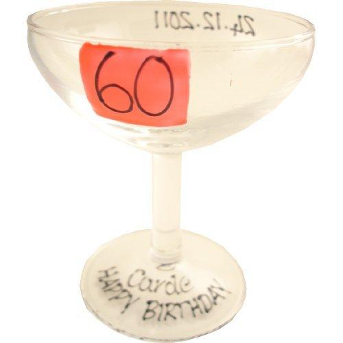 Anniversaire 60Ans cadeau personnalisé babecham en verre (Rouge) maximum 25caractères
