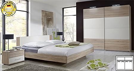 Schlafzimmer komplett 4-teilig 631419 eiche sägerau / weiß