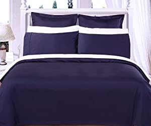 Full/Queen Comforter Set 100% Egyptian Cotton 550 Thread Count Duvet Cover Set + Comforter - Navy Blue