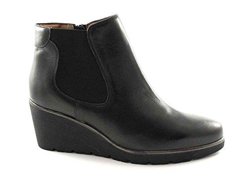 MELLUSO R1011 nero scarpe donna stivaletti beatles pelle zeppa zip