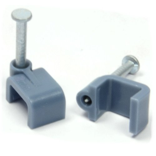 Grey 20 x 8 mm Flach Kabel Clips Sichern Befestigungen Kabel