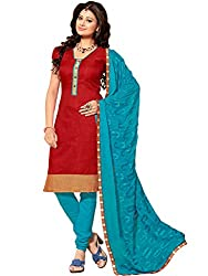 STYLE N DEAL Women's Jute Silk Unstitchced Dress Material (250D5002_Red_Free Size )