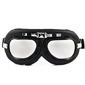 Chrome Black Frame Padded UV Smoke Lens Strap Goggle Sunglasses Tactical