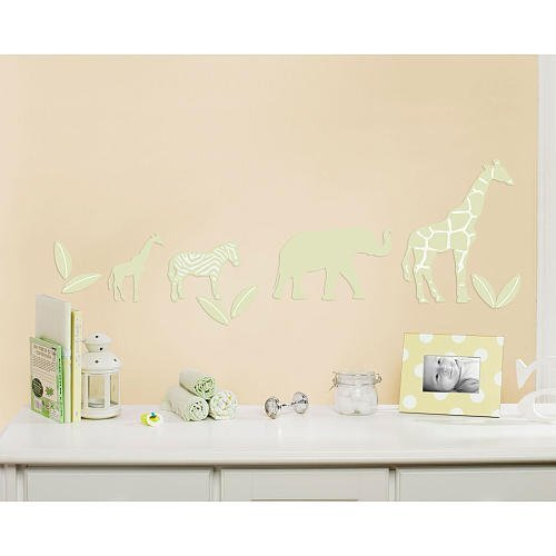 Little Boutique Flocked Wall Decals -Safari Animals