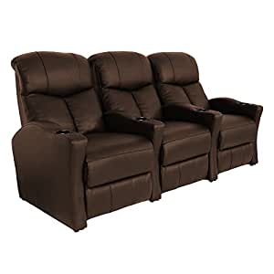 Seatcraft trenton brown bonded leather home theater seating row of 3 seats Home theater furniture amazon
