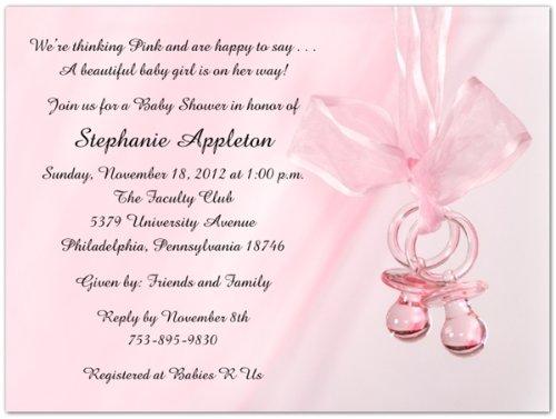 Pink Binkies Baby Shower Invitations - Set Of 20 front-1067596