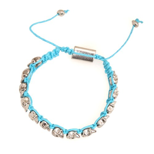 Spinningdaisy Style Tiny Skull String Bracelet Turquoise Color
