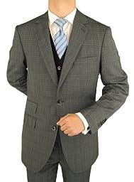 Bianco B Men\'s Suit Vested Modern Fit 3-Piece Blazer Extra Pants Total 4-Piece Charcoal (44 Long US)