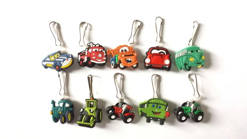 10 pcs Cars # 3 Zipper Pull / Zip pull Charms for Jacket Backpack Bag Pendant